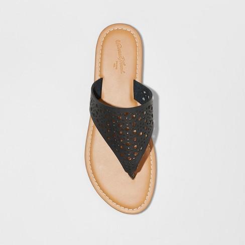 8a5519529cd Women s Kessa Laser Cut Toe Thong Sandals - Universal Thread™ Black   Target