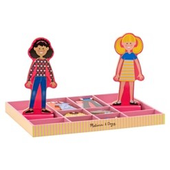 Melissa & Doug Abby and Emma Deluxe Magnetic Wooden Dress-Up Dolls Play Set (55+pc)