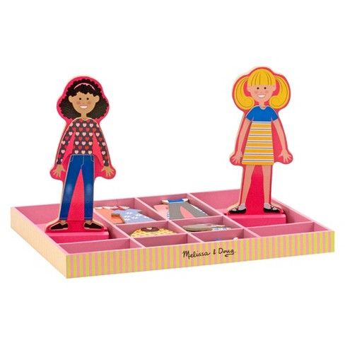 Melissa & Doug Abby and Emma Deluxe Magnetic Wooden Dress-Up Dolls Play Set (55+pc) - image 1 of 4