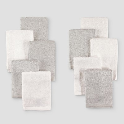 Hudson Baby 10pk Rayon from Bamboo Washcloths - Gray/White One Size