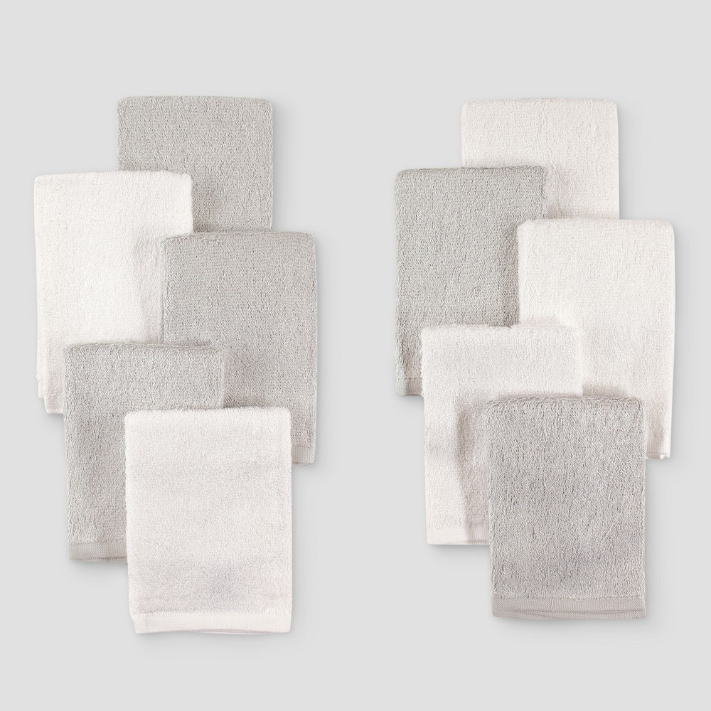 Image of Hudson Baby 10pk Rayon from Bamboo Washcloths - Gray/White One Size