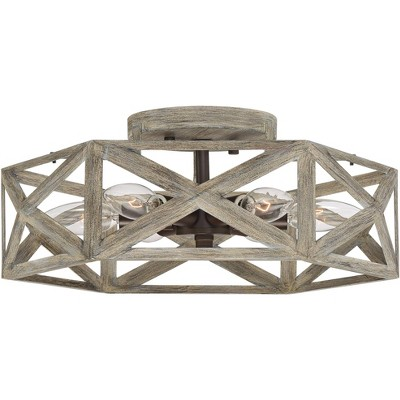 "Possini Euro Design Farmhouse Ceiling Light Semi Flush Mount Fixture Gray Wood 14 1/2"" Wide 6-Light Open Hexagon Bedroom Kitchen"