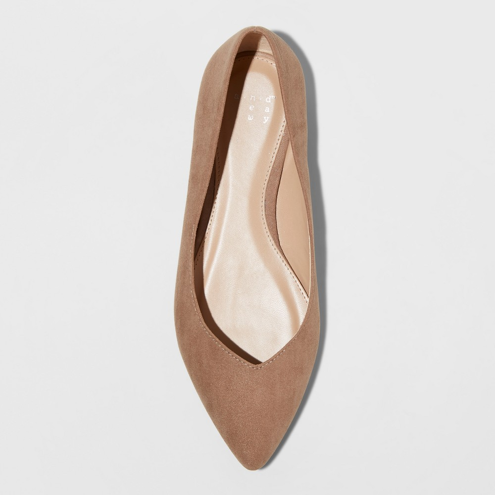 Women's Hillary Wide Width Ballet Flats - A New Day Taupe (Brown) 11W, Size: 11 Wide