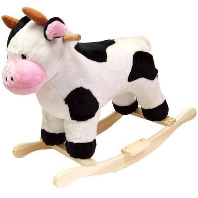 Happy Trails Plush Rocking Cow - White