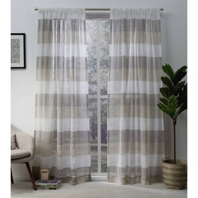 "Set of 2 84""x50"" Bern Rod Pocket Window Curtain Panels Beige - Exclusive Home"