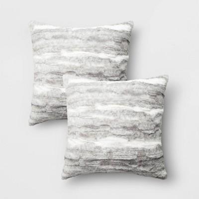 2pk Brushed Striped Faux Rabbit Fur Square Throw Pillow Gray