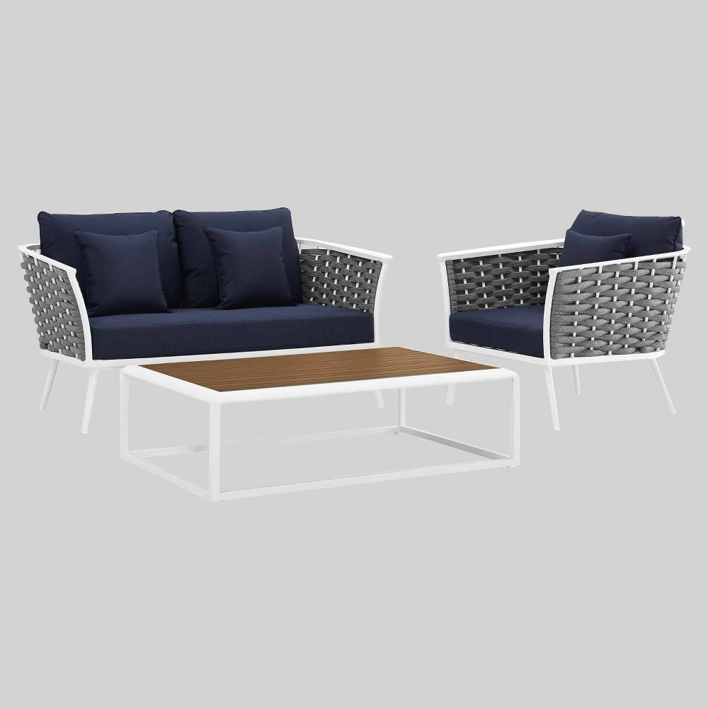 Stance 3pc Outdoor Patio Aluminum Sectional Sofa White Modway