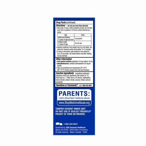 Theraflu Multi-Symptom Severe Cold Relief Powder - Acetaminophen - Green  Tea & Honey Lemon - 6ct