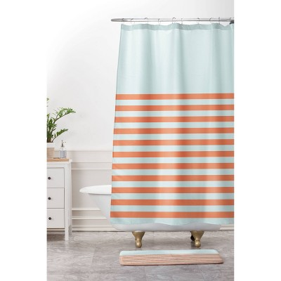 June Journal Beach Striped Shower Curtain Blue/Orange - Deny Designs