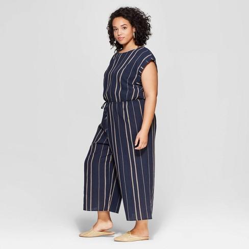 0ed511de2e9a Women s Plus Size Striped Sleeveless Scoop Neck Jumpsuit - Universal ...