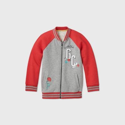 Girls' Disney Princess Bomber Jacket - Gray/Red S