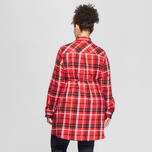 16bf8716d7a Maternity Long Sleeve Plus Size Plaid Flannel Popover Tunic - Isabel  Maternity By Ingrid   Isabel™ Red   Target