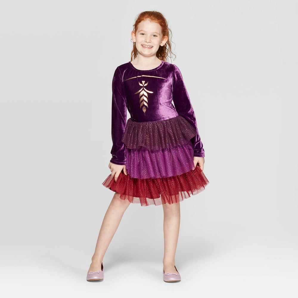 Image of Girls' Frozen Anna Cosplay Dress - Purple XL, Girl's