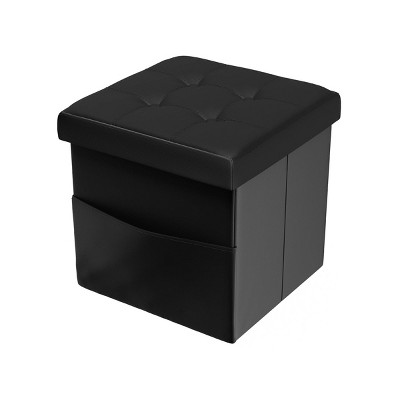 Foldable Storage Cube Ottoman with Pockets Black - Yorkshire Home