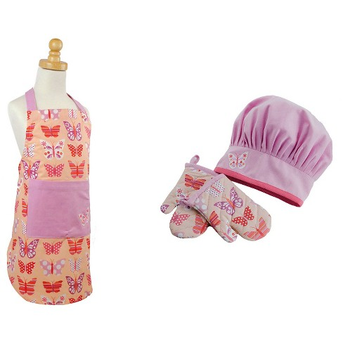 Butterfly Princess Children's Apron And Chef Gift Set Pink - Design Imports - image 1 of 1