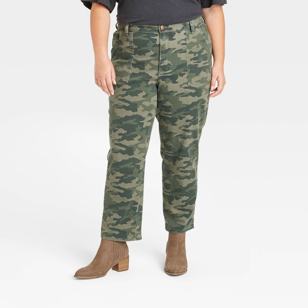 Women 39 S High Rise Straight Cropped Jeans Universal Thread 8482 Camo 16w