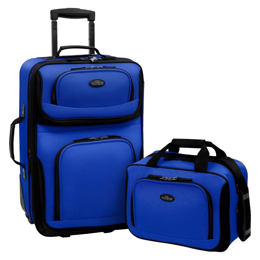 U S Traveler Rio 2pc Expandable Carry On Luggage Set Blue