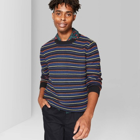 Men's Striped Crew Neck Novelty Knit Sweater - Original Use™ Blue  - image 1 of 3
