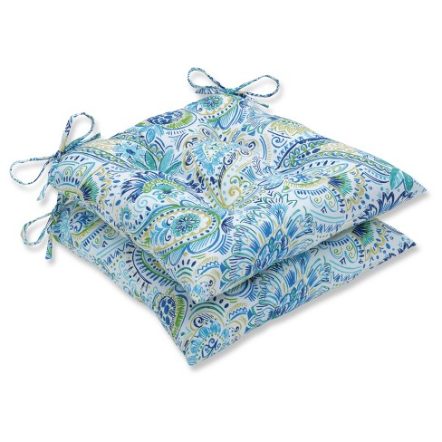 Outdoor/Indoor Gilford Blue Wrought Iron Seat Cushion Set of 2 - Pillow Perfect - image 1 of 1