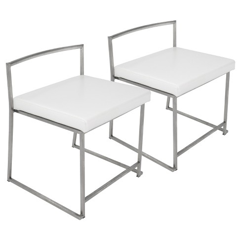 Fuji Contemporary Stainless Steel Dining Chair White Set Of 2 Lumisource