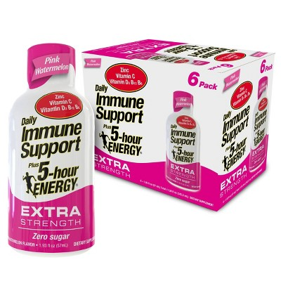 5 Hour Energy Extra Strength Daily Immune Support Shot - Pink Watermelon - 6pk