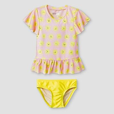 Toddler Girls' 2pc Rash Guard Set with Flounce - Cat & Jack™ Pink/Yellow 2T