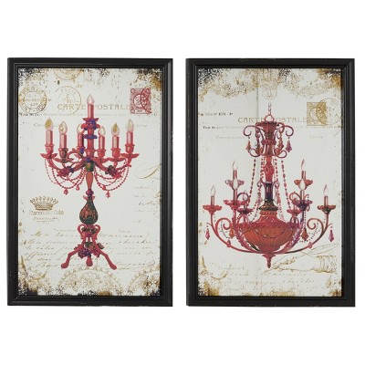 "(Set of 2) 18"" x 28"" Large Metallic Candelabra and Chandelier Wall Art on Iron Panels Red - Olivia & May"