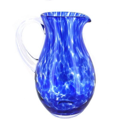 Blue Rose Polish Pottery Cobalt Confetti Glass Pitcher