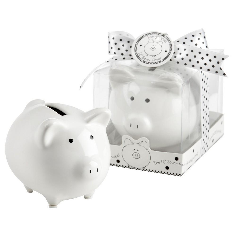 "Image of ""12ct """"Li'l Saver Favor"""" Ceramic Mini-Piggy Bank in Gift Box with Polka-Dot Bow, White"""