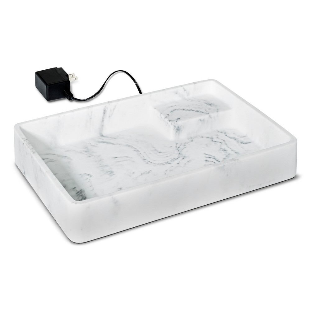 Image of Faux Marble Jewelry Storage with USB Ports White - 88 Main, Adult Unisex, Size: Large