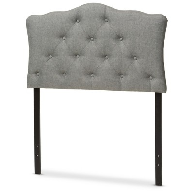 Myra Modern And Contemporary Fabric Upholstered Button - Tufted Scalloped Headboard - Baxton Studio