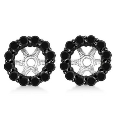 Pompeii3 5/8ct Treated Black Diamond Halo Earring Jackets Solid 14K White Gold (up to 6mm)