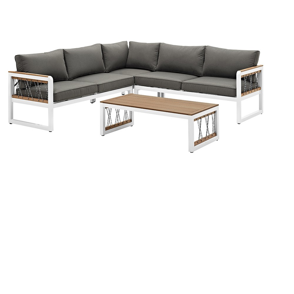 4pc Wood/Aluminum Sectional with Cord Accents - White/Gray - Saracina Home