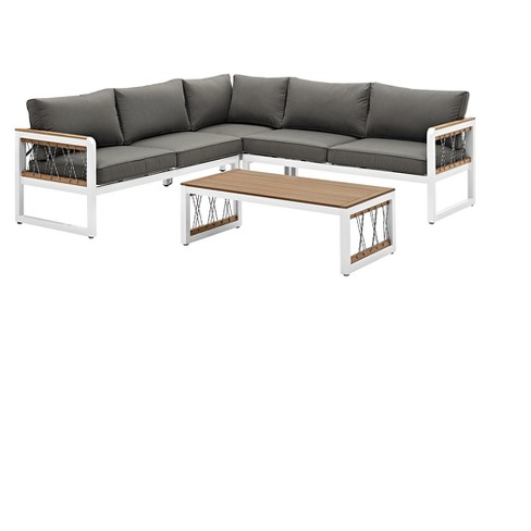 4pc Wood/Aluminum Sectional with Cord Accents - White/Gray - Saracina Home - image 1 of 5