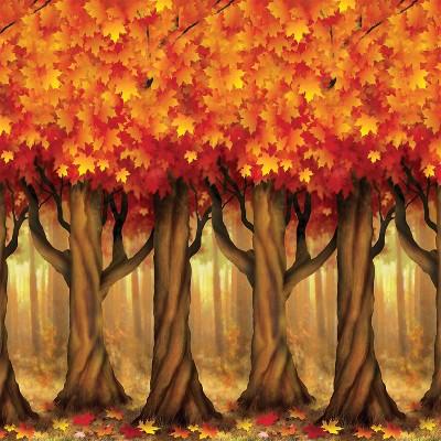 Fall Trees Halloween Backdrop