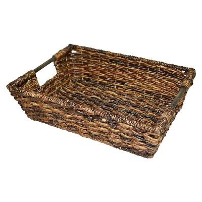 Wicker Large Decorative Tray - Dark Global Brown - Threshold™