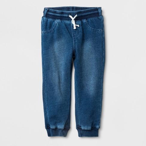 Toddler Girls' Adaptive Knit Medium Wash Denim Jogger Pants - Cat & Jack™ Blue - image 1 of 1