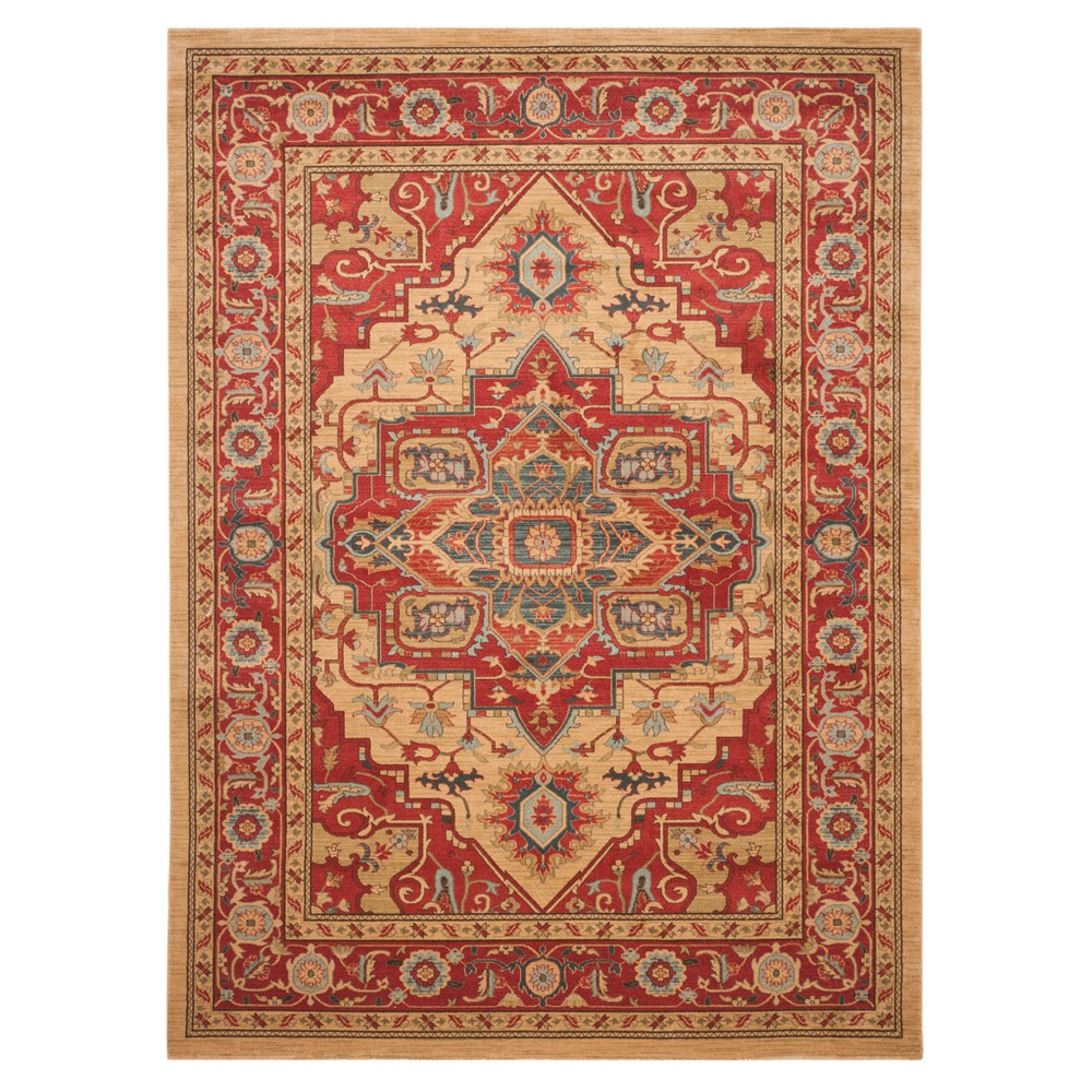 Red/Natural Floral Loomed Area Rug 8'X10' - Safavieh