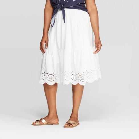 Women\'s Plus Size Eyelet Skirt - Ava & Viv™ White 4X