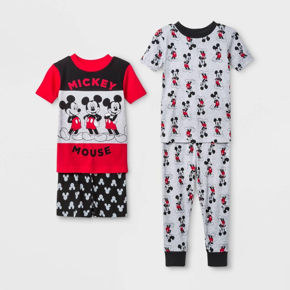 Image of Baby Boys' 4pc Disney Mickey Mouse Pajama Set - Red/Black/Gray 18M, Boy's, Black/Gray/Red