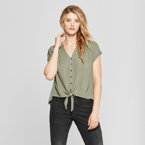 Women's Tie Front Short Sleeve Blouse - Universal Thread™ Olive S - image 1 of 3