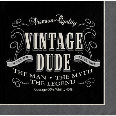 48ct Vintage Dude Beverage Napkins Black