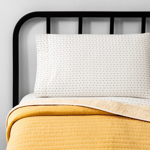Double Weave Dot Yellow Quilt - Hearth & Hand™ with Magnolia - image 1 of 4