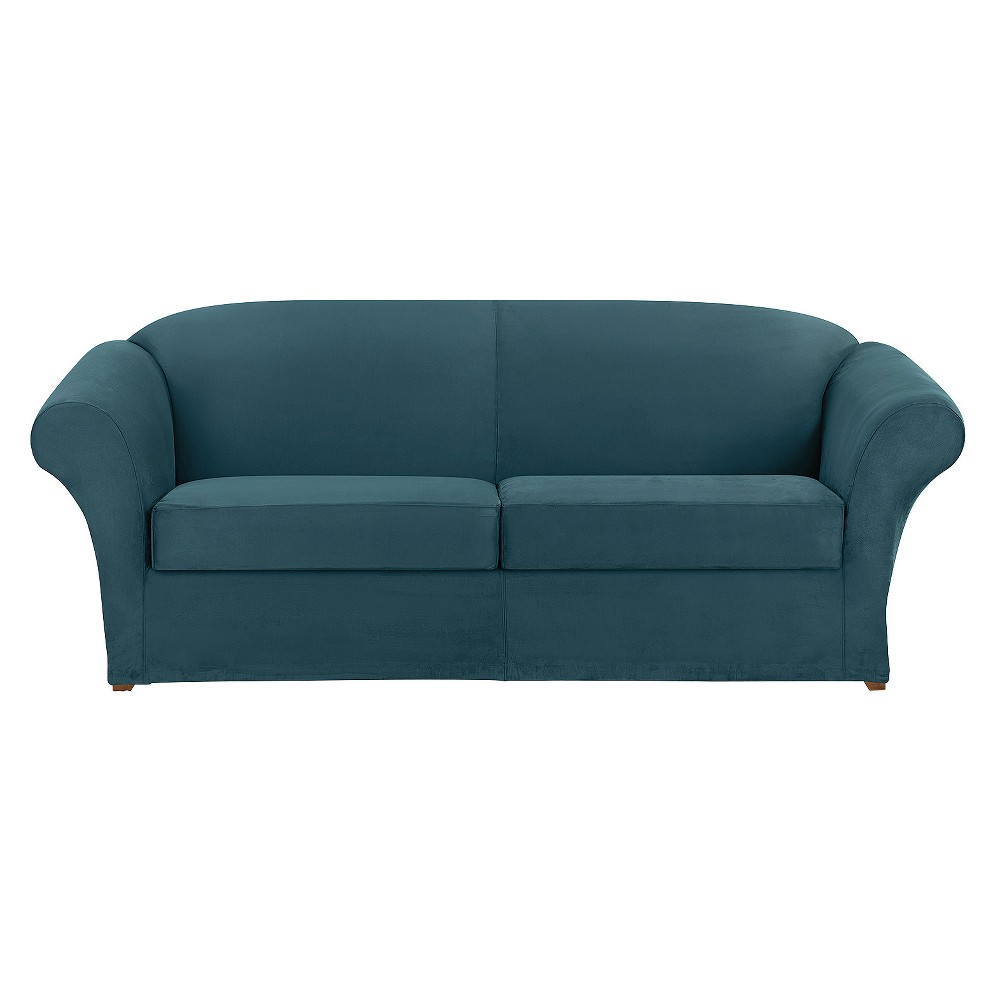 Ultimate Stretch Suede 3pc Sofa Slipcover Peacock Blue - Sure Fit