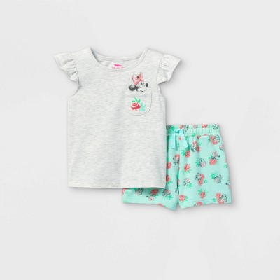 Toddler Girls' Minnie Mouse Short Sleeve French Terry Top and Bottom Set - Aqua