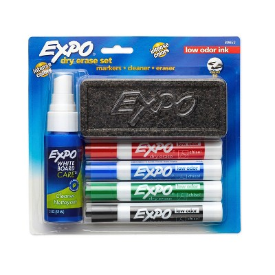 6pk Dry Erase Marker Starter Set with Eraser, Cleaner Chisel Tip Multicolor - Expo