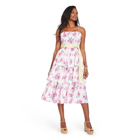 Women's Elise Smocked Tiered Dress - LoveShackFancy for Target (Regular & Plus) Ivory/Pink  - image 1 of 4