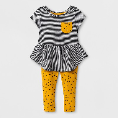Baby Girls' 2pc Tunic and Leggings Set - Cat & Jack™ White Striped/Amber Yellow 0-3M