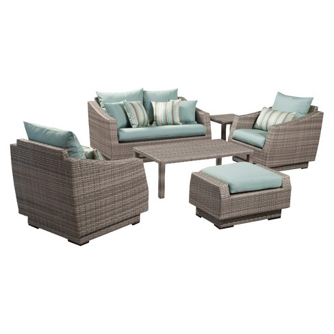 Cannes 6-Piece Wicker Patio Conversation Furniture Set - Blue - image 1 of 9