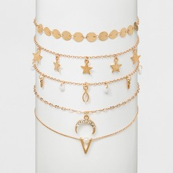 Choker with Star, Discs and Beaded Necklace Set 5ct - Wild Fable™ Gold